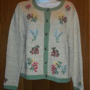 Orvis Cardigan Sweater Tan Embroidered Flowers